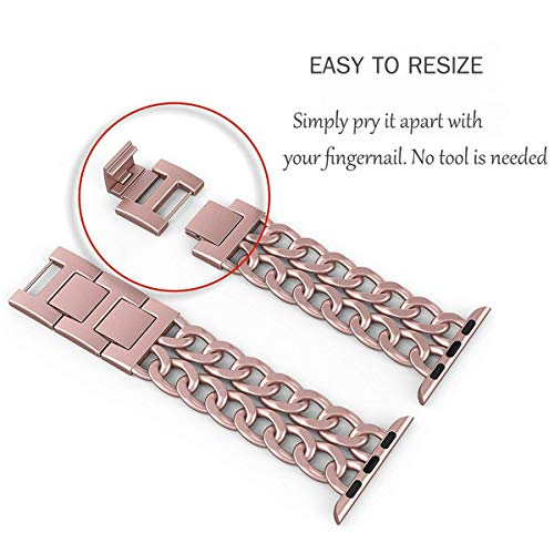 AmzAokay Replacement Bands Compatible for Apple Watch 38mm 42mm Stainless Steel Metal Cowboy Chain Strap Wrist Band for Apple Watch 40mm 44mm Series 5 4 3 2 1 Sport and Edition (Rose Gold, 42mm/44mm)