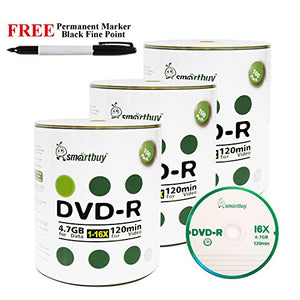 Smartbuy 300-disc 4.7GB/120min 16x DVD-R Logo Top Blank Media Record Disc + Black Permanent Marker