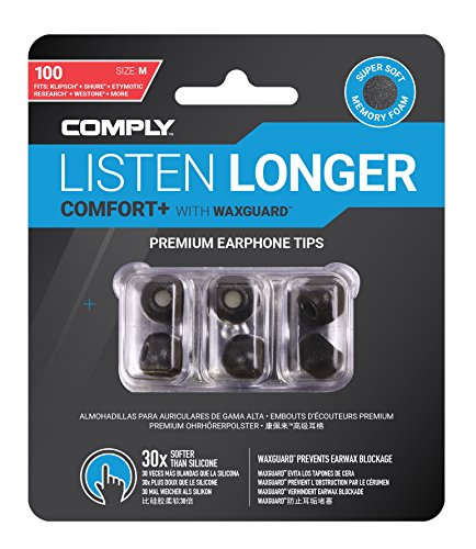 Comply Comfort Plus Tsx 100 Memory Foam Earphone Tips, Fits Etymotic, Klipsch, Westone & More, (S/M/