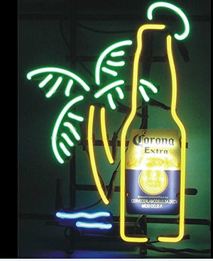 !Super Bright! New Corona Extra Bottle Palm Tree Sign Handcrafted Real Glass Neon Light Sign Home Beer Bar Pub Recreation Room Game Room Windows Garage Wall Sign 19x15 inches