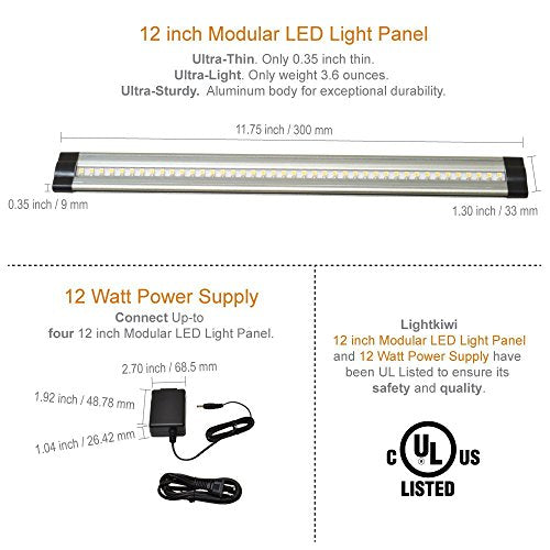 Lightkiwi E7574 Dimmable LED Under Cabinet Lighting 4 Panel Kit, 12 Inches Each, Warm White (3000K), 12 Watt, 24VDC, Dimmer Switch & All Accessories Included, Low Profile, Aluminum Body, UL Listed