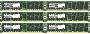 A-Tech 48GB KIT (6 x 8GB) For HP-Compaq ProLiant Series BL280c G6 (ECC Registered) DL180 G6 (ECC Registered) SL335s G7 WS460c G6 Work. DIMM DDR3 ECC Registered PC3-10600 1333MHz Single Rank RAM Memory