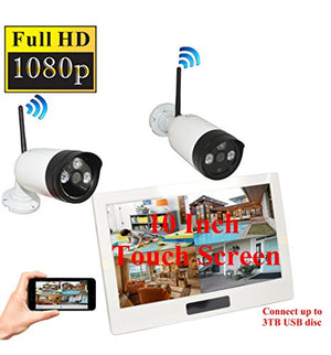 4UCam 1080P HD Digital Wireless Home Security Camera System 4CH 10 Inch HD Touch Split Screen LCD Monitor Indoor Outdoor 2.0 Megapixel Camera Security Network