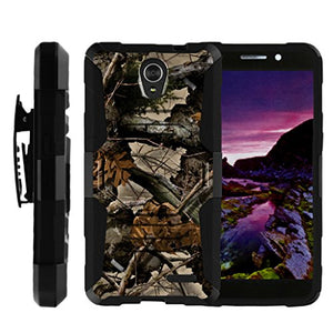 TurtleArmor | Compatible with ZTE Maven 2 Case | ZTE Sonata 3 Case [Octo Guard] Dual Layer Case Holster Belt Clip Sturdy Kickstand Cover - Tree Leaves Camouflage