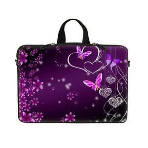 Meffort Inc 15 15.6 Inch Neoprene Laptop Sleeve Carrying Bag with Hidden Handle & D Ring Hook - Purple Flower Heart Butterfly