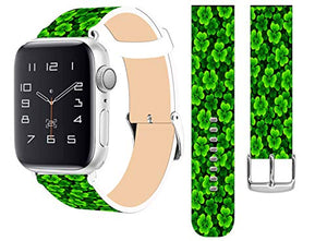 Strap Compatible for Apple Watch Series SE/6/5/4/3/2/1 38mm/40mm - ENDIY Designer Leather Fashionable Band Replacement for Iwatch - Green Clover Pattern Band