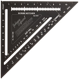 Johnson Level & Tool 12? Johnny Square, Professional Easy-Read Aluminum Rafter Square w/out Manual