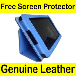 Mochie (tm) Genuine Leather Bold Standby Pouch Case Cover Jacket for Amazon Kindle Fire Tablet Blue
