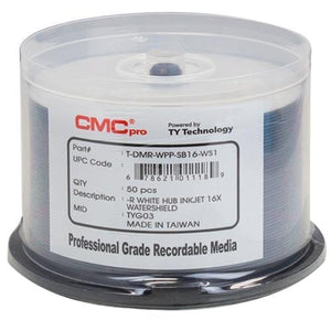 Taiyo Yuden 600 CMC Pro 16X DVD-R 4.7GB Water Shield White Inkjet Hub Printable