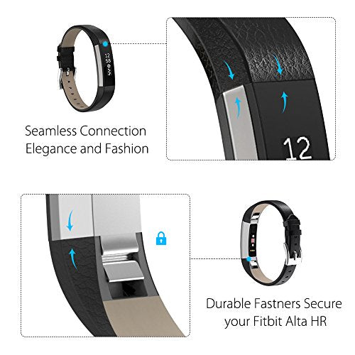 Henoda Replacemnt Leather Bands Compatible with Fitbit Alta/Fitbit Alta HR, Black Classic Genuine Leather Wristband, Small Large, No Tracker