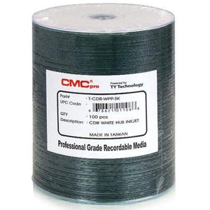 CMC Pro, 52X, White Inkjet Hub-Printable, 100 Disc Tape Wrap