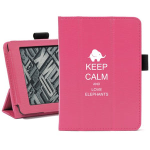 Hot Pink For Amazon Kindle Paperwhite Leather Magnetic Case Cover Stand Keep Calm and Love Elephants