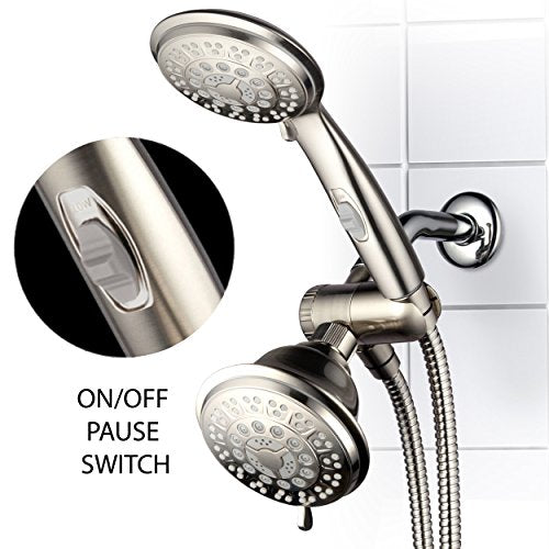Hotel Spa 42-Setting Ultra-Luxury 3-Way Combo with ON/Off Pause Switch/Brushed Nickel