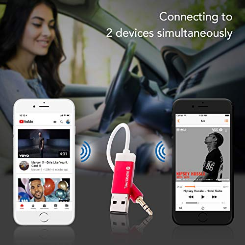 Tunai Firefly Bluetooth Receiver: Worldâ??S Smallest Usb Wireless Audio Bluetooth 4.2 Adapter With 3