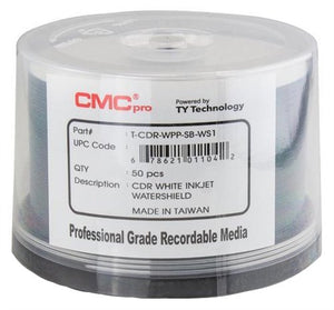 Taiyo Yuden 600 CMC Pro 52X CDR (CD-R) 80min 700MB Water Shield White Inkjet Hub Printable