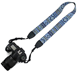 Elvam Universal Men and Women Camera Strap Belt Compatible with All DSLR Camera and SLR Camera - Blue Pattern Striped