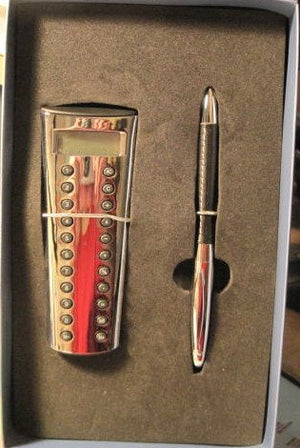 Pen and Calculator Set, Chrome and Leather, by Things Remembered