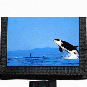 Orca Whale Black TriFold Nylon Wallet Great Gift Idea