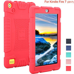 Newshine Case for Fire 7 2017, Light Weight Full Body Shock Proof Soft Silicone Back Cover [Kids Friendly] for All-New Amazon Fire 7 Tablet (7th Generation, 2017 Release Only), S-Red