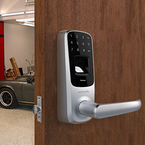 Ultraloq UL3 Fingerprint and Touchscreen Keyless Smart Lever Door Lock (Satin Nickel) | 3-in-1 Keyless Entry | Secure Finger ID | Anti-peep Code | Premium Construction Material | Match Home Aesthetics