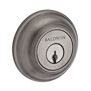 Baldwin SCTRD152 Reserve Single Cylinder Traditional Round Deadbolt in Matte Antique Nickel Finish