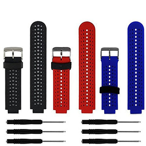 ZSZCXD Soft Silicone Replacement Watch Band for Garmin Forerunner 235/220 / 230/620 / 630/735 Smart Watch (3Pcs,001)