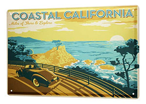 LEotiE SINCE 2004 Tin Sign Metal Plate Decorative Sign Home Decor Plaques World Trip California Coastal Road car sea Sunset Decorative Wall Plate 8X12