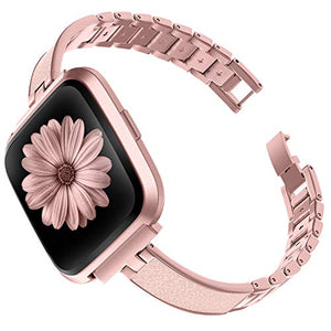 TOYOUTHS Stylish Bracelet Compatible with Fitbit Versa/Versa 2 Bands Women Slim Strap Replacement for Versa Lite Special Edition Stainless Steel Metal+Leather Accessories (Rose Gold+Pink)