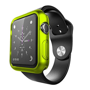 FastSun Ultra Thin Premium Semi-transparent Lightweight Case Soft TPU Protective Bumper Cover For Apple Watch /Sport/Edit 42mm (Fluorescent Green)