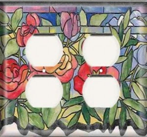 Stained Glass Roses - Double Duplex Outlet Light Switch Plate Cover