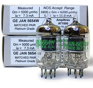Riverstone Audio - Tested/Matched Pair (2 Tubes) 7-Pin GE JAN 5654W Fully-Tested Vacuum Tubes - Upgrade for 6AK5 / 6J1 / 6J1P / EF95 - JAN 5654W Platinum Grade Pair