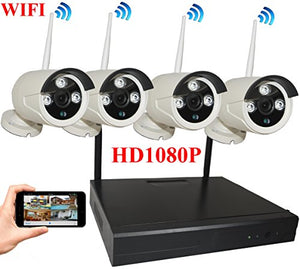 4UCam 8-Channel HD 1080P Wireless Network/IP Security Camera System (IP Wireless WIFI NVR Kits) Home Security Camera System Indoor Outdoor 4 Camera