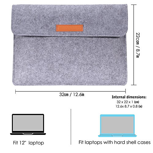 "MoKo 12 Inch Laptop Felt Sleeve Bag, Protective Case Cover Fit Microsoft Surface Pro 7/Pro 6/Pro 5/Pro 4/Pro 3/Pro LTE 12.3""/MacBook Air 11.6""/iPad Pro 12.9 Inch 2018, with Small Felt Bag - Light GRAY"