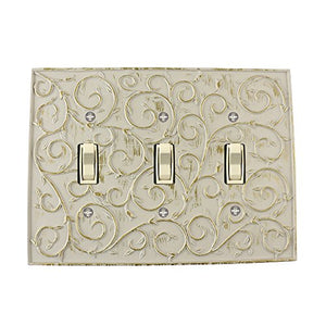 Meriville French Scroll 3 Toggle Wallplate, Triple Switch Electrical Cover Plate, Ivory
