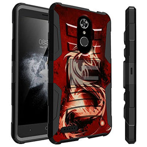 Untouchble Case for ZTE Max XL Star Case, ZTE Max XL Case [Heavy Duty Clip] Combat Shockproof Layer Rugged Hybrid Armor [Kickstand] [Swivel Holster] - Red Dragon
