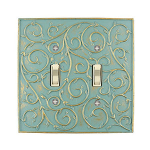 Meriville French Scroll 2 Toggle Wallplate, Double Switch Electrical Cover Plate, Buckingham Green with Gold