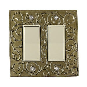 Meriville French Scroll 2 Rocker Wallplate, Double Switch Electrical Cover Plate, Aged Gold