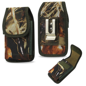 Heavy Duty Rugged Camo Hunting Vertical Case with hook and loop Closure and Metal Clip on the back for Kyocera DuraForce XD (5.7