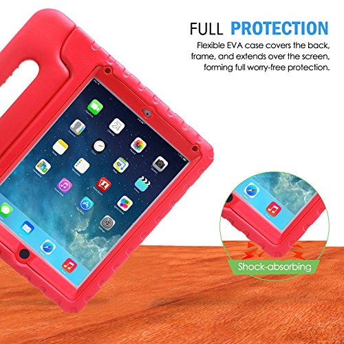 HDE Case for iPad Air - Kids Shockproof Bumper Hard Cover Handle Stand with Built in Screen Protector for Apple iPad Air 1 - 2013 Release 1st Generation (Red)
