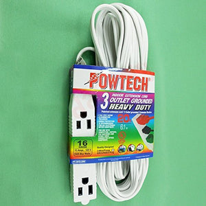 Powtech 20 Feet HEAVY DUTY 3Prong 3 Outlet Extension Cord White by Powtech