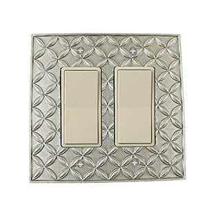 Meriville Colfax Double Switch 2 Rocker Electrical Cover Plate Wallplate, Pewter