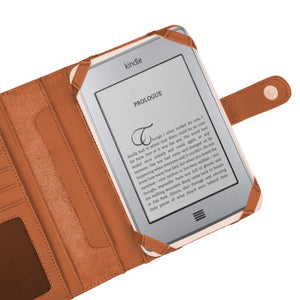 Navitech Genuine Brown Napa Leather Flip Open Book Style Carry Case / Cover & Clip On Flexible Backlight/ Night Light/ Reading Light Compatible With The Compatible With The Amazon Kindle Touch 6 Inch