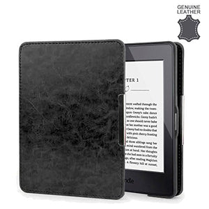 Olixar Amazon Kindle Paperwhite Genuine Leather Case - Compatible with Kindle Paperwhite 3/2 / 1 - Slim Protective Cover - Built in Hand Strap & Sleep/Wake Functionality Folio - Black