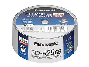 Panasonic Blu-ray BD-R Recordable Disk | 25GB 6x Speed | 30 Pack in Spindle Ink-jet Printable