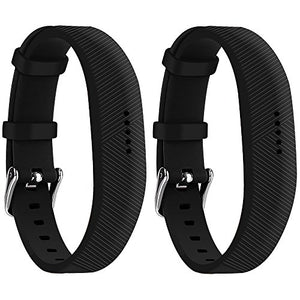 Huadea Compatible Bands Replacement for Fitbit Flex 2 with Watch Buckle (2 Black) Soft Silicone Wristband