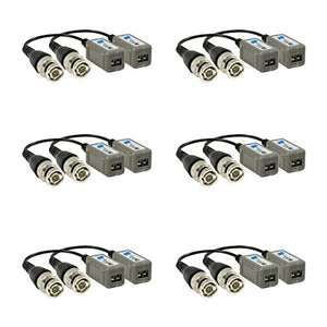 Video Balun, CCTV Video at Distances up to 984ft pasive UTP and 2624ft Active UTP for CCTV Products. Contains 6 Pairs (12 Pcs).