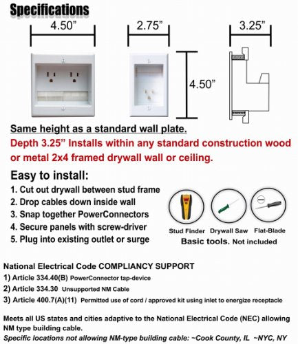 PowerBridge TWO-CK Dual Outlet Recessed In-Wall Cable Management System with PowerConnect for Wall-Mounted Flat Screen LED, LCD, and Plasma TV's