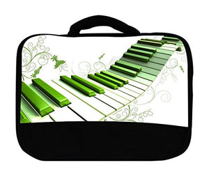 Green Piano Keys Artsy Insulated Canvas Lunch Bag