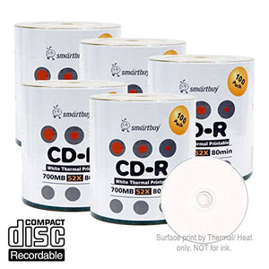 Smart Buy CD-R 500 Pack 700mb 52x Thermal Printable White Blank Recordable Discs, 500 Disc, 500pk