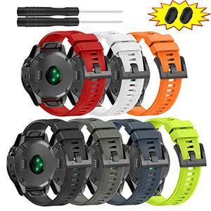 ZEROFIRE Bands for Garmin Fenix 5 and Fenix 5 Plus Watch Strap Replacement Silicone Band Compatible with Forerunner 935, 945, Approach S60, Quatix 5 Smartwatch, Including Anti-dust Plug - 7 Pcs